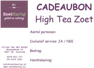 Cadeaubon ZoetHartig High Tea Zoet